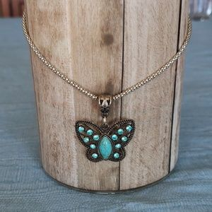 🎉 Antiqued Butterfly Pendant Necklace